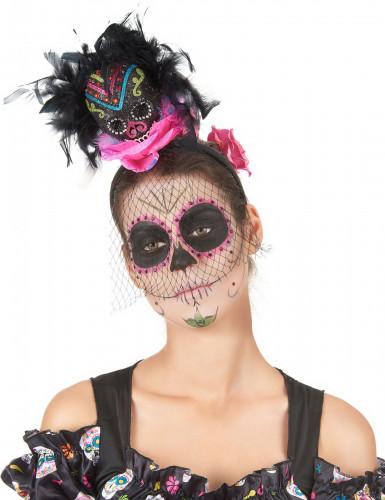 Copricapo con teschio colorato da donna per Halloween-1