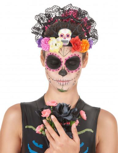 Cerchietto-corona di fiori Dia de los Muertos Halloween:-1