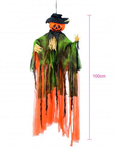 Decorazione di Halloween con zucca spaventapasseri appendibile-1