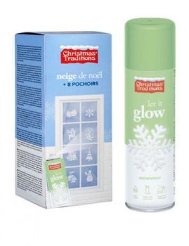 Spray neve fosforescente con 8 mascherine tema natalizio
