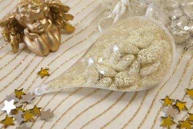 Contenitore a goccia d'acqua trasparente con glitter dorati-1