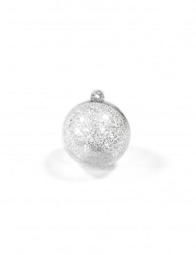 2 sfere trasparenti con glitter argentati 6 cm