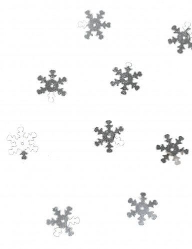 10 grammi di coriandoli da tavola a forma di fiocco di neve color argento