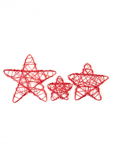 6 stelline decorative rosse in metallo