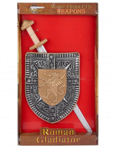 Kit spada e scudo gladiatore romano per bambino-1