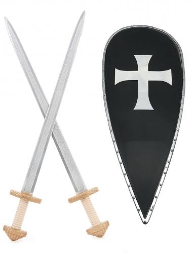 Kit con scudo e spade cavaliere crociato