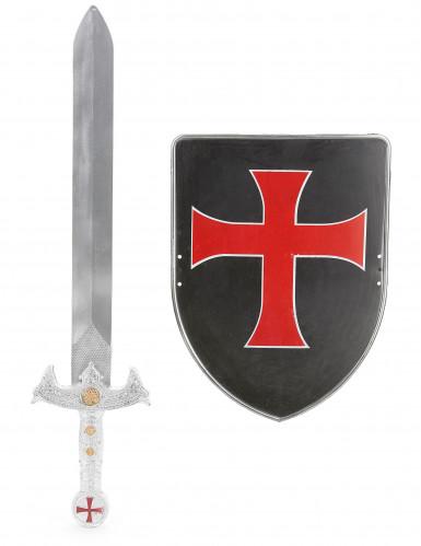 Kit con scudo e spada cavaliere crociato