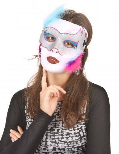 Maschera adulto colore bianco brillante-1