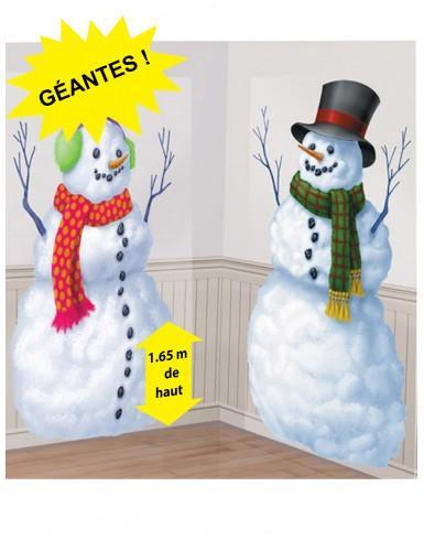 2 decorazioni da muro Omino di neve in cartone