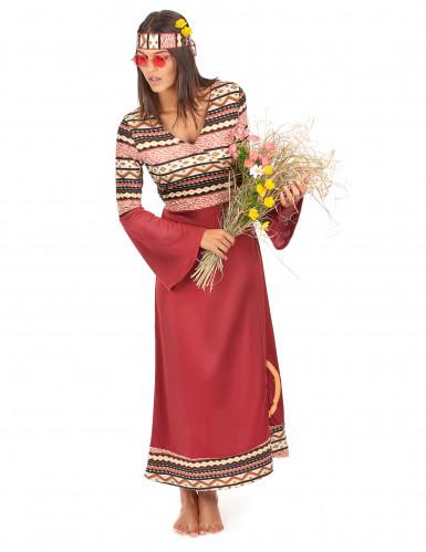 Costume da hippy per donna di colore bordeaux