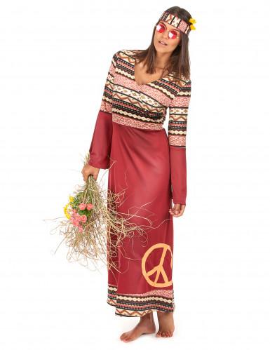 Costume da hippy per donna di colore bordeaux-1
