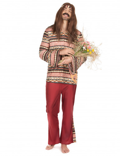 Costume bordeaux da hippie per uomo
