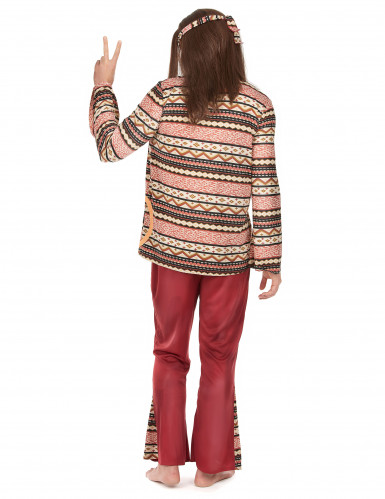Costume bordeaux da hippie per uomo-2