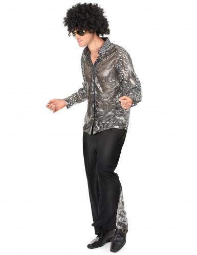 Costume disco argentato per uomo-1