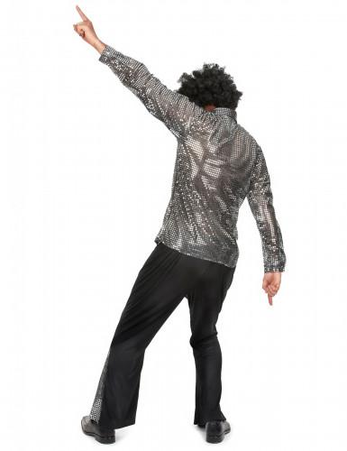 Costume disco argentato per uomo-2