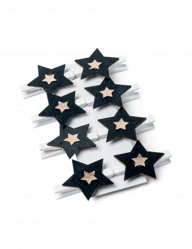 8 mollette stella nera e oro