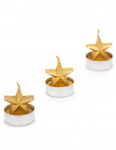 3 candele dorate a forma di stella per il Natale