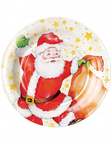 8 piatti di cartone con Babbo Natale di 23 cm