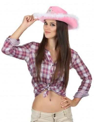 Cappello da Cowgirl in rosa per donna-1