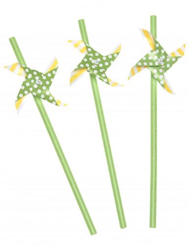 3 cannucce con girandola gialle e verdi