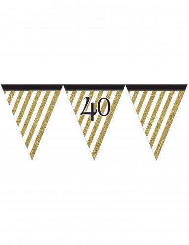 Ghirlanda di bandierine nero e oro 40 anni da 3,7 metri