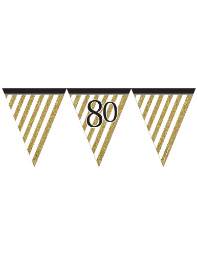 Ghirlanda con bandierine nera e oro 80 anni 3,7m