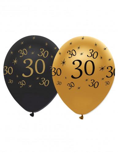 Confezione da 6 palloncini 30 anni nero e oro