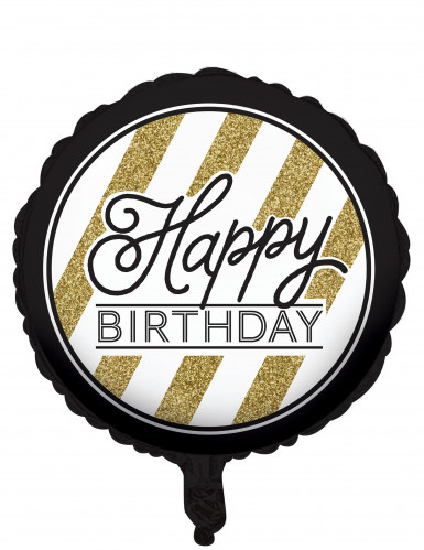 Palloncino di alluminio nero e oro Happy Birthday