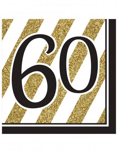 16 tovaglioli 60 anni nero e oro