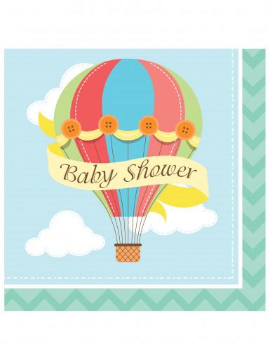 16 tovaglioli Baby Shower con mongolfiera 33x33cm