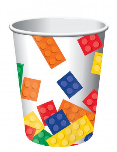 8 Bicchieri di carta mattoncini da costruzione 266 ml