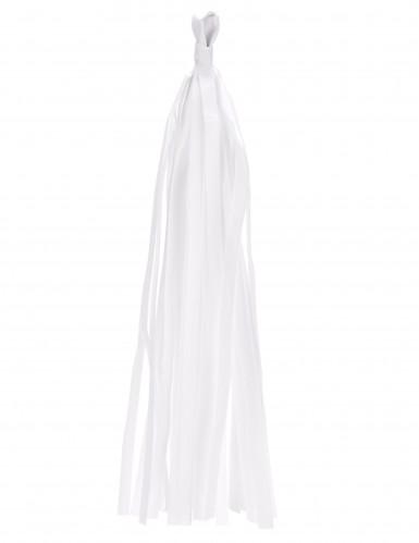 6 pompon con frange color bianco