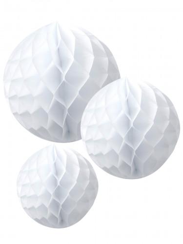 3 Sfere in carta a nido d'ape bianche cm 15 20 e 25