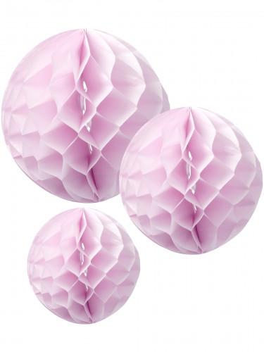 3 sfere di carta alveolata rosa da 15 20 e 25 cm