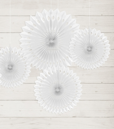 3 rosoni a ventaglio di carta bianca da 20 25 e 30 cm