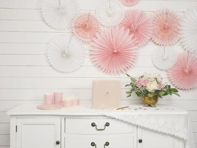 3 rosoni a ventaglio di carta bianca da 20 25 e 30 cm-1