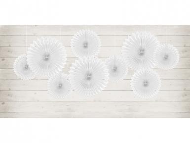 3 rosoni a ventaglio di carta bianca da 20 25 e 30 cm-2