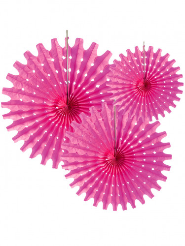 3 rosoni a ventaglio di carta rosa fucsia da 20 30 e 40 cm