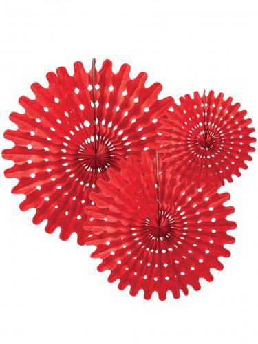 3 Ventagli rossi a forma di rosa da 20 cm 25 cm e 30 cm