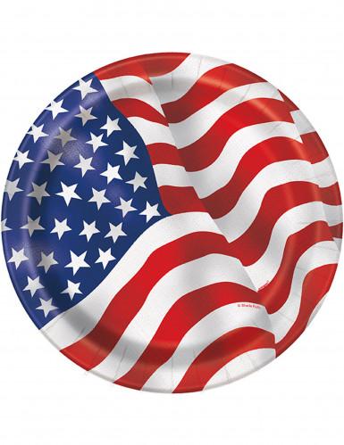 8 piattini di carta con fantasia bandiera U.S.A.