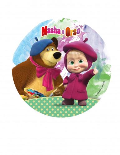 Disco decorativo per torta con Masha e Orso