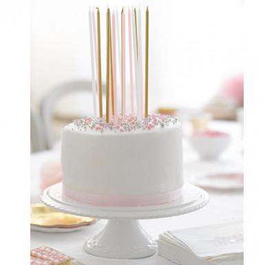 16 grandi candele rosa, bianche e oro-1