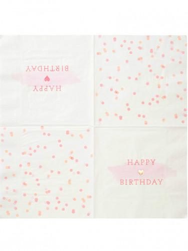 16 tovaglioli di carta rosa e oro di 33 x 33 cm-1