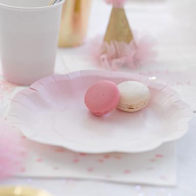 12 Piattini di carta rosa e oro 17 cm-1