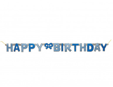 Ghirlanda articolata con la scritta Happy Birthday di colore blu 1.27 metri