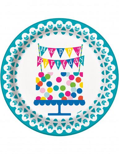 8 piatti di carta turchese Buon Compleanno 22 cm