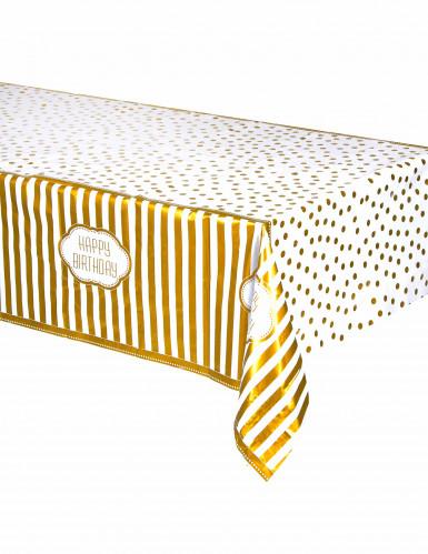 Tovaglia di plastica per il compleanno color oro 137 x 213 cm