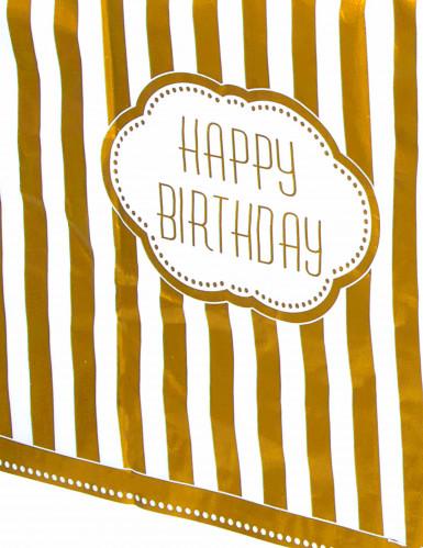 Tovaglia di plastica per il compleanno color oro 137 x 213 cm-1