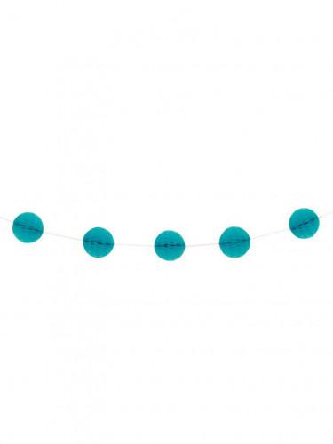 Ghirlanda con sfere di carta azzurre con trama a nido d'ape