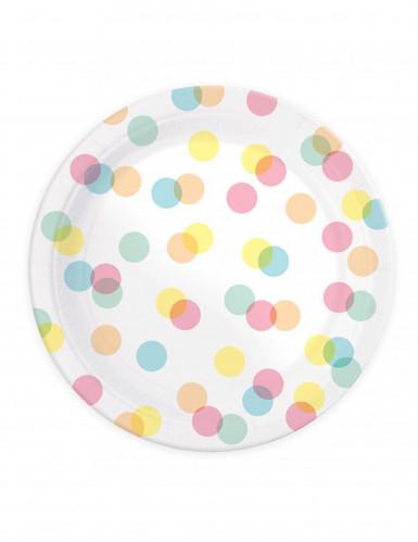8 piatti di carta con pois variopinti 23 cm